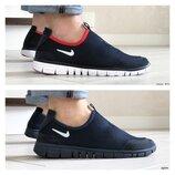 Мужские легкие кроссовки Nike Free Run, синие р. 41-45