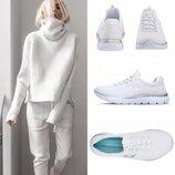 Потрясающие текстильные кроссовки американского бренда skechers summits white/silver