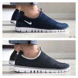 Мужские легкие кроссовки Nike Free Run, синие и серые