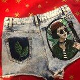 Шорты джинсовые роспись