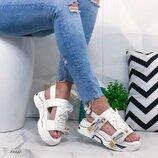 Женские белые кожаные спортивные босоножки сандали сандалии на толстой платформе со шнурками текстом