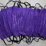 Маска защитная четырехслойная на резинке фиолетовая, 10шт