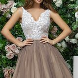 Платье беби долл выпускное софт сетка гипюр белый черный капучино