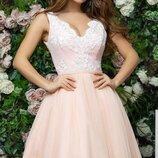 Платье выпускное беби долл софт сетка гипюр персик капучино фрезовый