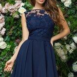 Платье вечернее выпускное гипюр шифон черный белый синий персик