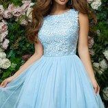 Платье беби долл выпускное вечернее гипюр сетка габардин персик голубой белый