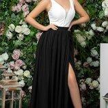 Платье вечернее выпускное в пол костюмная сетка софт капучино фрез черный
