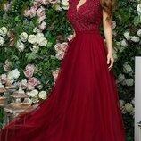 Платье выпускное вечернее в пол габардин гипюр сетка фрезовый красный бордовый