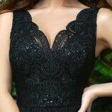 Платье выпускное вечернее в пол гипюр сетка софт черный белый малиновый белый с капучино