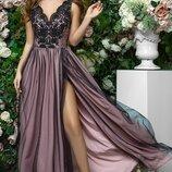 Платье выпускное вечернее в пол гипюр сетка софт капучино фрезовый фрезовый с черным