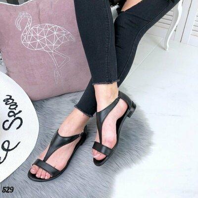 Черные кожаные босоножки на низком ходу, шкіряні босоніжки, босоножки кожа 36р-23,5 см код 529