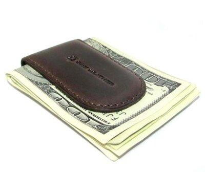 Зажим для денег кожаный на магните dnk klip magnes-k brown коричневый