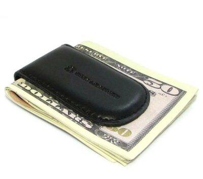 Зажим для денег кожаный на магните dnk klip magnes-k black черный