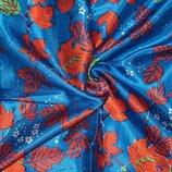Отрез атласной ткани - синий с осенними листочками 85х66см