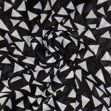 Отрез ткани, шифон - черный в белые треугольники 3м60см х100см