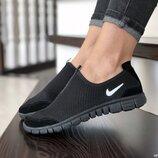 Женские летние кроссовки Nike Free Run 3.0, черные