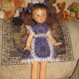 Кукла CCCР 68 см ходячая в винтажном нереальном платье.