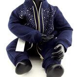 Детский костюм байка 1 и 2 года синий детские костюмы утеплённый теплый Турция