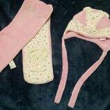 Набор шапка розовая шарф