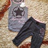Летний костюм комплект для девочки. Майка и шорты бриджи. 134-140р.