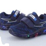 Детские текстильные кроссовки с подсветкой Clibee F903 синий 26-31
