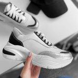 Кожаные белые кроссовки с вставками серебро на платформе, кроссовки кожа