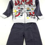 Детский костюм 1 и 3 года серый на замке детские костюмы с рисунком штаны