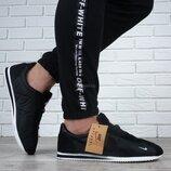 Кроссовки мужские Nike Cortez Black Вьетнам текстильные замш черные