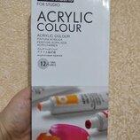 Краски акрил 12 цв набор фарби рисование творчество декор масло акварель пастель холст кисти каранда