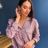 Воздушна блуза в горошек«Опал» две расцветки