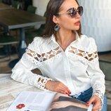 Белая рубашка «Эстель» с кружевом