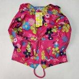 Демисезонная детская куртка ветровка для девочки розовая цветы 3-7 лет 1908-1