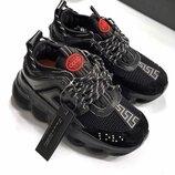 Хит Женские чёрные кроссовки Versace бренд