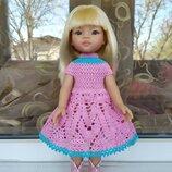 Яркое платье для куклы Паола Рейна. На рост 30-37 см