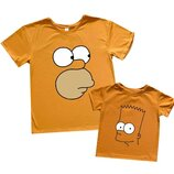 Классные парные футболки Гомер и Барт, папа и сын