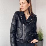 Куртка косуха из экокожи с ремнем черная косуха жіноча косуха чорна куртка косуха S, M, L, XL