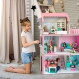 Люкс Лайт кукольный домик NestWood для Барби, без мебели, розовый