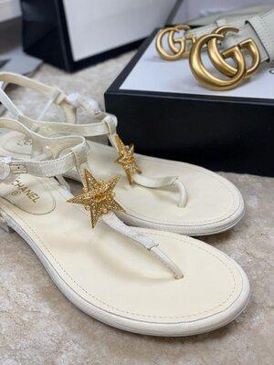Сандали босоножки женские кожаные белые шанель chanel звезда звездой