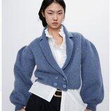 Zara вязанный укороченный кардиган из шерсти и альпака M/L