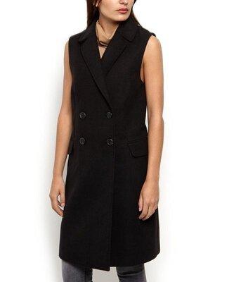 Стильное базовое двубортное угольно-чёрное пальто без рукав, с карманами, на подкладке