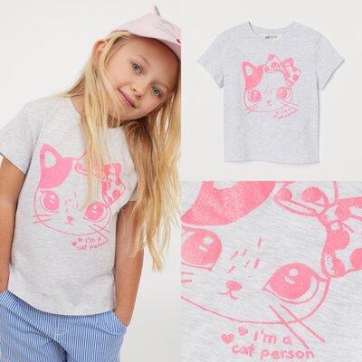 Футболка для девочки 2/4 г H&M с кошечкой, футболка для дівчинки 2/4р, з котиком. Довжина 40,5 см, ш