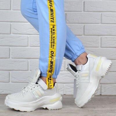 Кроссовки женские кожаные на платформе maison margiela style белые