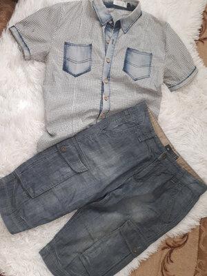 Джинсовые шорты/ бриджи мужские/WE Германия /р.М/44-46 /Рубашка в подарок