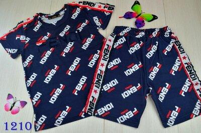 Детский крутой спортивный костюм Фенди шорты и футболочка FENDI