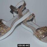Нарядные золотые босоножки для девочки, 32-37 размер, супинатор 109-96-443