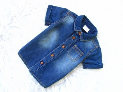 Стильная и качественная джинсовая Рубашка с коротким рукавом F&F