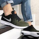 Nike Zoom кроссовки мужские демисезонные темно зеленые с черным и белым 9248
