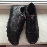 Кожаные кроссовки Reebok classic 41-46 размеры, черные кроссовки, кроссовки рибок, рибок класик