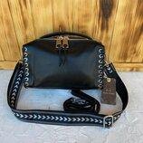 Женская кожаная сумка бочонок через на плечо Polina & Eiterou черная жіноча шкіряна чорна