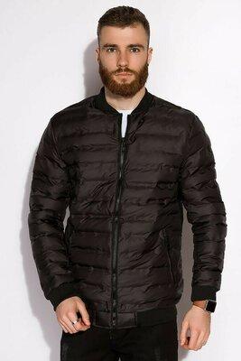 Мужская чёрная весенняя куртка бомбер чоловіча чорна весняна куртка